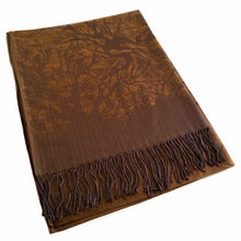 A-SHU BRONZE REVERSIBLE PASHMINA SHAWL SCARF IN ABSTRACT PRINT - A-SHU.CO.UK
