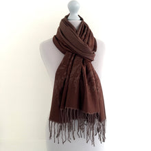 A-SHU CHOCOLATE REVERSIBLE PASHMINA SHAWL SCARF IN ABSTRACT PRINT - A-SHU.CO.UK