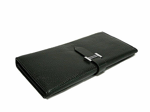 A-SHU DESIGNER STYLE GENUINE LEATHER PURSE - BLACK - A-SHU.CO.UK