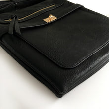 A-SHU BLACK MULTI COMPARTMENT CROSS BODY SHOULDER BAG - A-SHU.CO.UK