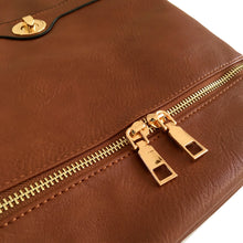 A-SHU TAN MULTI COMPARTMENT OVER SHOULDER CROSS BODY BAG - A-SHU.CO.UK