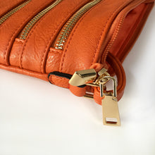A-SHU ORANGE SLIM MULTI POCKET CROSS BODY BAG WITH LONG STRAP - A-SHU.CO.UK