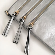 A-SHU METALLIC SILVER SLIM MULTI POCKET CROSS BODY BAG WITH LONG STRAP - A-SHU.CO.UK