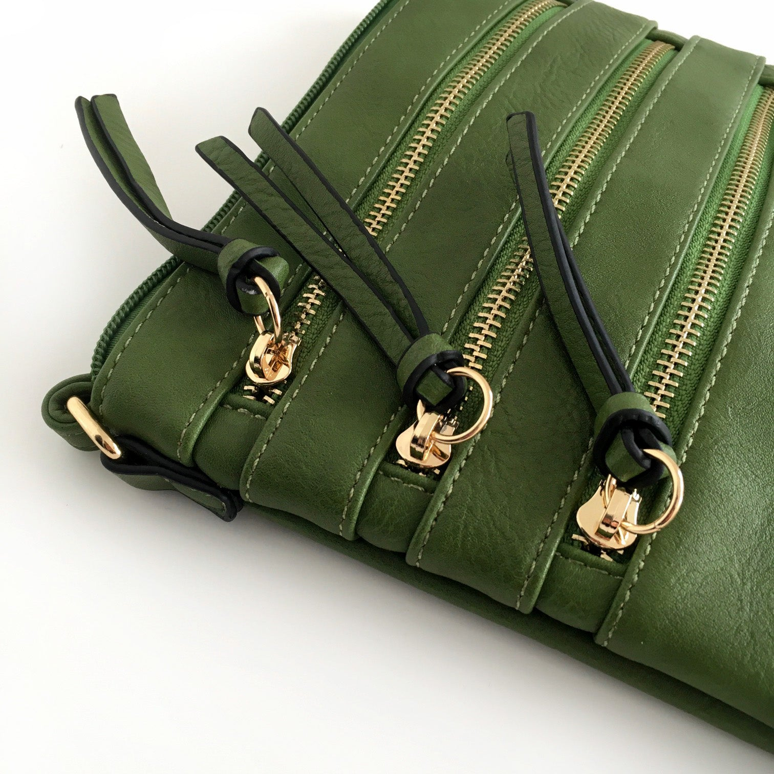 A-SHU GREEN SLIM MULTI POCKET CROSS BODY BAG WITH LONG STRAP - A-SHU.CO.UK