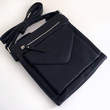 A-SHU LARGE NAVY BLUE ENVELOPE DESIGN CROSS BODY BAG WITH LONG STRAP - A-SHU.CO.UK