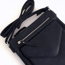 LARGE NAVY BLUE ENVELOPE DESIGN CROSS BODY BAG WITH LONG STRAP