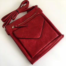 A-SHU LARGE RED ENVELOPE DESIGN CROSS BODY BAG WITH LONG STRAP - A-SHU.CO.UK
