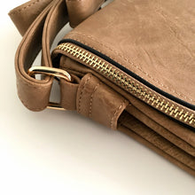 A-SHU LARGE TAUPE TASSEL MULTI COMPARTMENT CROSS BODY SHOULDER BAG WITH LONG STRAP - A-SHU.CO.UK