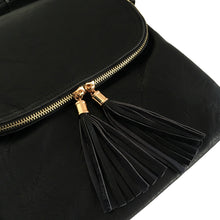 A-SHU LARGE BLACK TASSEL MULTI COMPARTMENT CROSS BODY SHOULDER BAG WITH LONG STRAP - A-SHU.CO.UK
