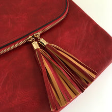 A-SHU LARGE RED TASSEL MULTI COMPARTMENT CROSS BODY SHOULDER BAG WITH LONG STRAP - A-SHU.CO.UK