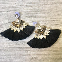 A-SHU BLACK LARGE DIAMANTE TASSEL / FRINGE EARRINGS - A-SHU.CO.UK