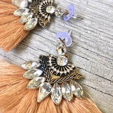 A-SHU NUDE CAMEL LARGE DIAMANTE TASSEL / FRINGE EARRINGS - A-SHU.CO.UK