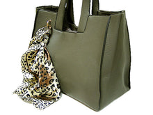 A-SHU LIGHTWEIGHT GREY MULTI-COMPARTMENT HANDBAG WITH LEOPARD PRINT SCARF AND LONG STRAP - A-SHU.CO.UK