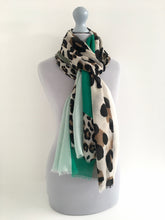 A-SHU LONG GREEN BLOCKS LEOPARD PRINT LIGHTWEIGHT SHAWL SCARF - A-SHU.CO.UK