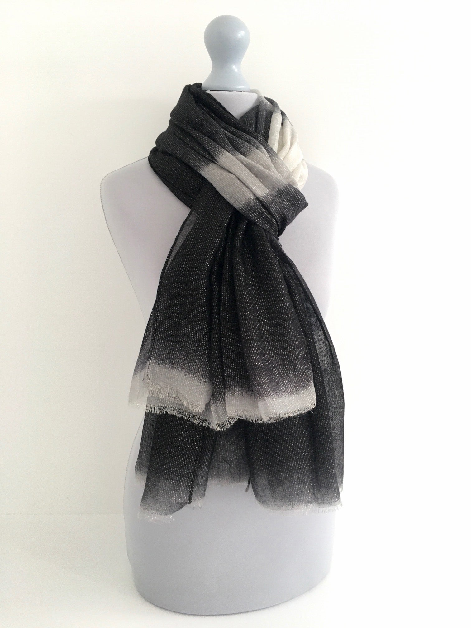 A-SHU LIGHTWEIGHT BLACK OMBRE METALLIC GOLD THREAD SCARF - A-SHU.CO.UK