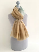 A-SHU LIGHTWEIGHT DUCK EGG BLUE OMBRE METALLIC GOLD THREAD SCARF - A-SHU.CO.UK