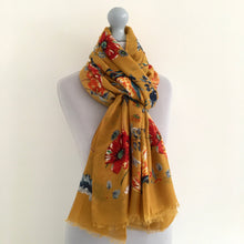A-SHU LARGE MUSTARD YELLOW SUPER SOFT FLORAL PRINT SCARF - A-SHU.CO.UK