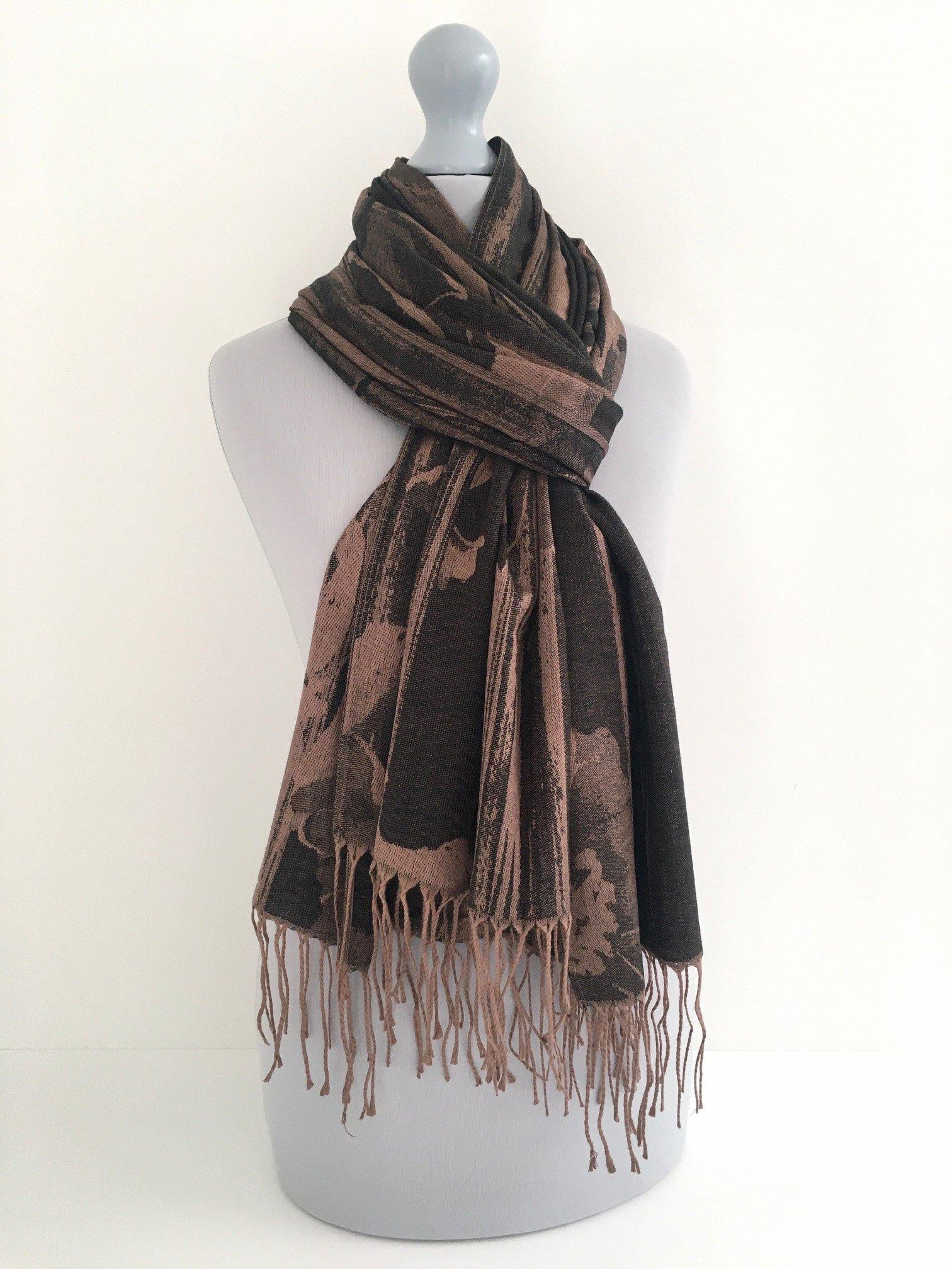 A-SHU BLACK BRONZE REVERSIBLE PASHMINA SHAWL SCARF IN ABSTRACT FLORAL PRINT - A-SHU.CO.UK