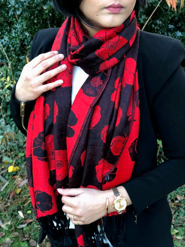 LARGE REVERSIBLE RED AND BLACK POPPY PASHMINA SHAWL SCARF
