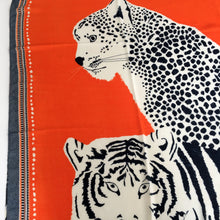 A-SHU LARGE ORANGE COTTON MIX TIGER AND LEOPARD PRINT SHAWL SCARF - A-SHU.CO.UK