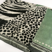 A-SHU LARGE MINT GREEN COTTON MIX TIGER AND LEOPARD PRINT SHAWL SCARF - A-SHU.CO.UK