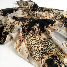 A-SHU LARGE BLACK VINTAGE LEOPARD PRINT SHAWL SCARF - A-SHU.CO.UK