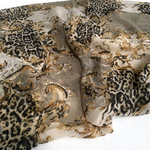 A-SHU LARGE CREAM VINTAGE LEOPARD PRINT SHAWL SCARF - A-SHU.CO.UK