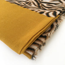 A-SHU LARGE MUSTARD YELLOW BORDER ZEBRA PRINT SHAWL SCARF - A-SHU.CO.UK