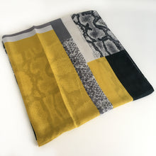 A-SHU LARGE MUSTARD YELLOW BLOCK PRINT SNAKESKIN SHAWL SCARF - A-SHU.CO.UK
