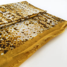 A-SHU LARGE MUSTARD YELLOW SNAKESKIN PRINT SHAWL SCARF WITH METALLIC DETAILING - A-SHU.CO.UK