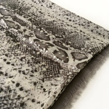 A-SHU LARGE GREY SNAKESKIN PRINT SHAWL SCARF WITH METALLIC DETAILING - A-SHU.CO.UK