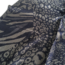 A-SHU NAVY LARGE LEOPARD PRINT REVERSIBLE PASHMINA SHAWL SCARF - A-SHU.CO.UK