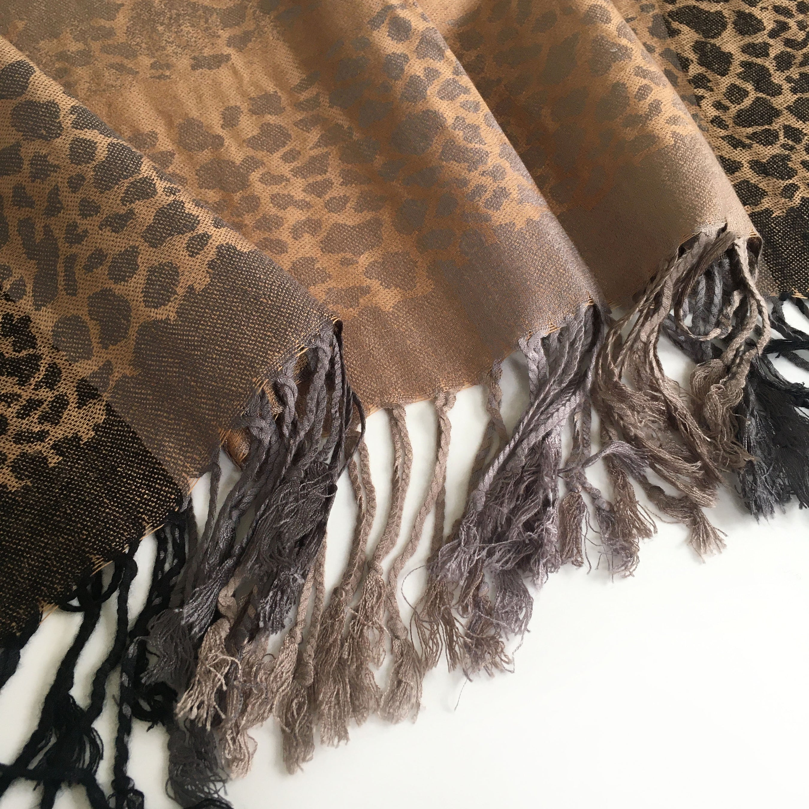 A-SHU ROSE LEOPARD PRINT REVERSIBLE PASHMINA SHAWL SCARF WITH STRIPE - A-SHU.CO.UK