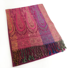 A-SHU LARGE PINK RAINBOW MULTI COLOUR PAISLEY PRINT PASHMINA SHAWL SCARF - A-SHU.CO.UK