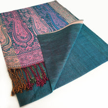 A-SHU LARGE TEAL RAINBOW MULTI COLOUR PAISLEY PRINT PASHMINA SHAWL SCARF - A-SHU.CO.UK