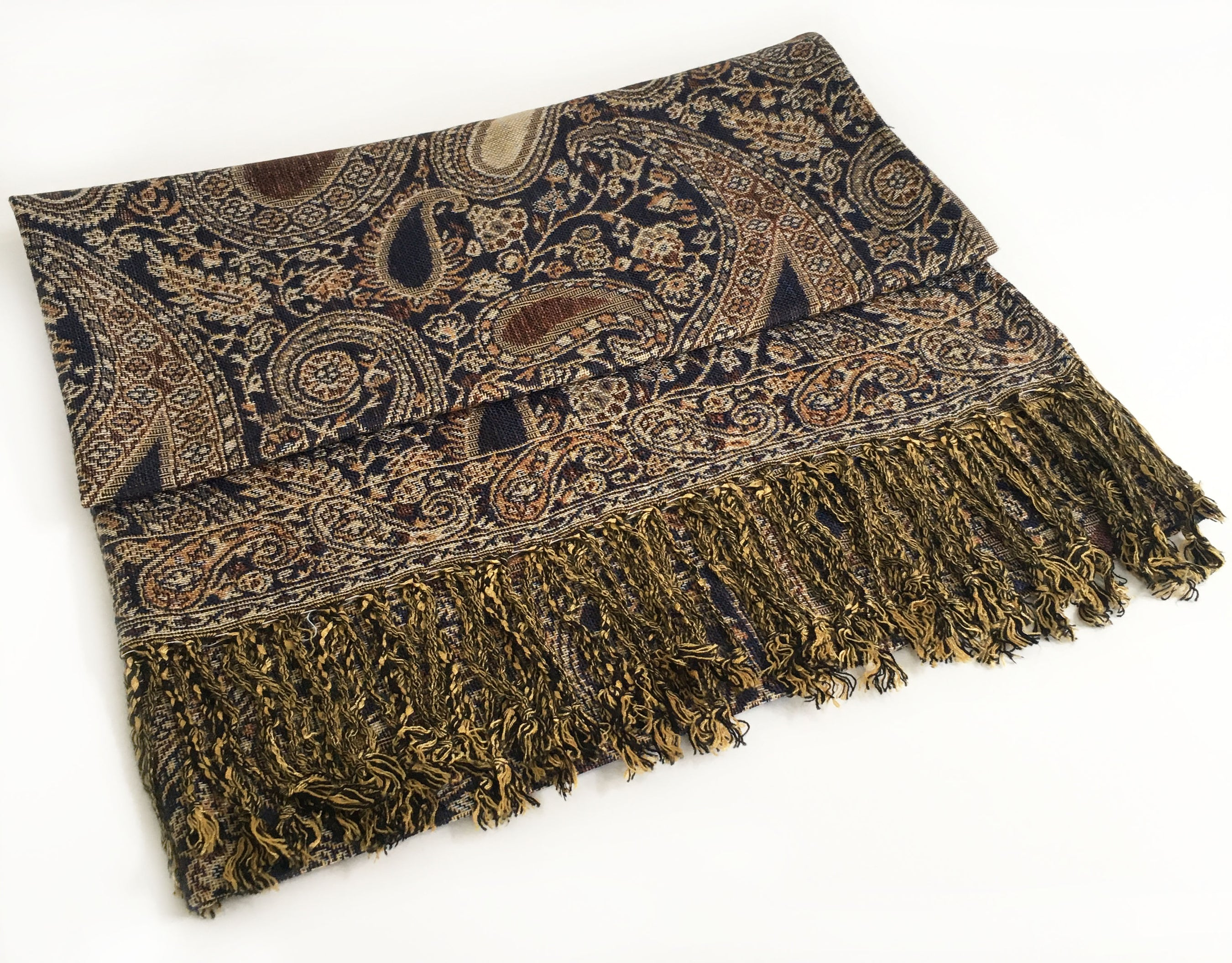 A-SHU LARGE BROWN MULTI COLOUR PAISLEY PRINT PASHMINA SHAWL SCARF - A-SHU.CO.UK