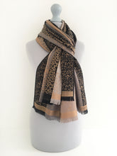 A-SHU RUST BRONZE LEOPARD PRINT REVERSIBLE PASHMINA SHAWL SCARF - A-SHU.CO.UK