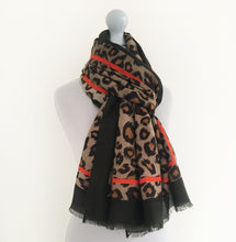 LARGE KHAKI GREEN AND BURNT ORANGE STRIPE LEOPARD PRINT SCARF