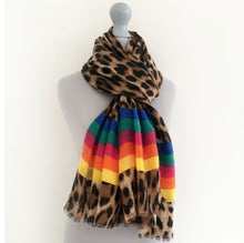 A-SHU LARGE LEOPARD PRINT SHAWL SCARF WITH MULTI COLOUR RAINBOW STRIPES - A-SHU.CO.UK