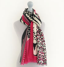 A-SHU LARGE FUSCHIA PINK COTTON MIX TIGER AND LEOPARD PRINT SHAWL SCARF - A-SHU.CO.UK
