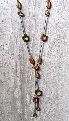 LONG BOHEMIAN AMBER GREEN SIMPLE BEAD NECKLACE