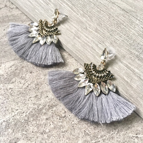 SILVER GREY LARGE DIAMANTE TASSEL / FRINGE EARRINGS