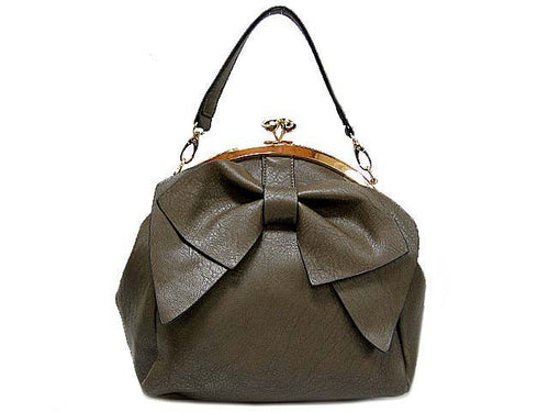 TAUPE GREY BOW DESIGN SHOULDER HANDBAG WITH LONG STRAP