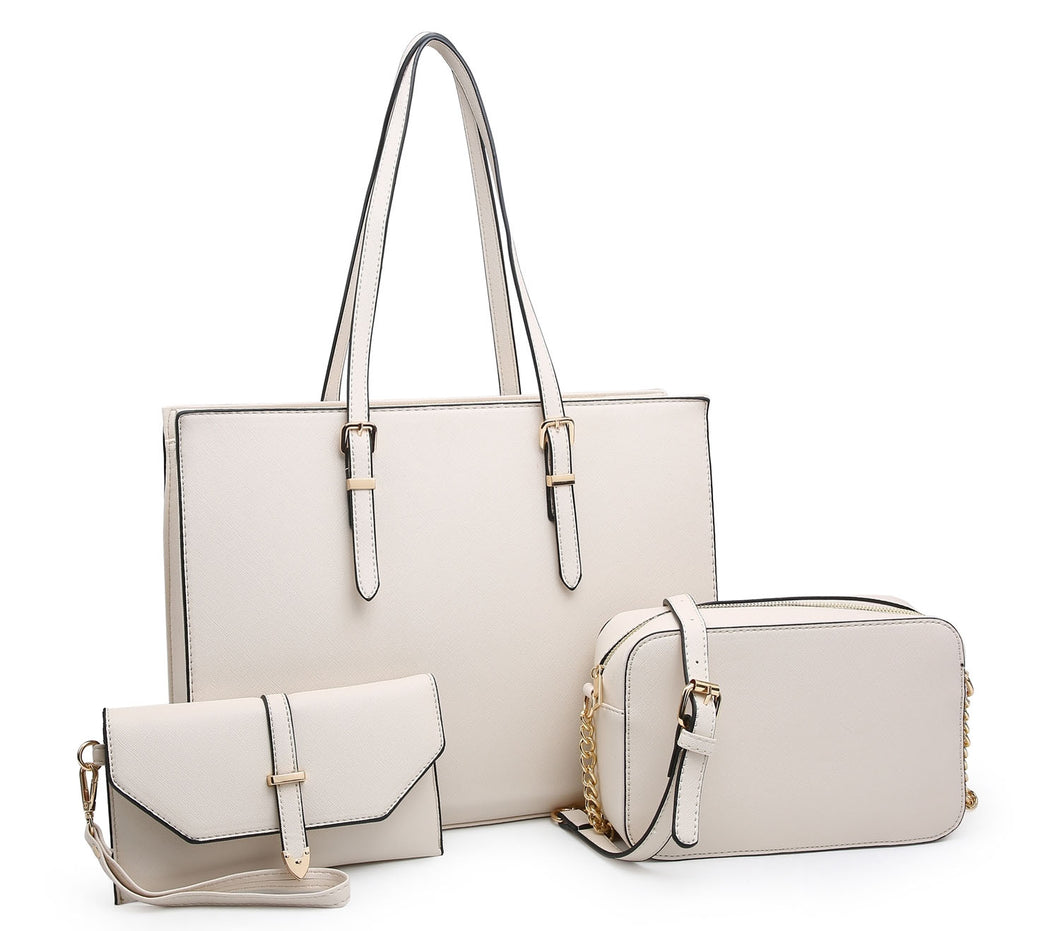 LARGE BEIGE TOTE HANDBAG SET WITH PURSE AND CHAIN CROSSBODY BAG
