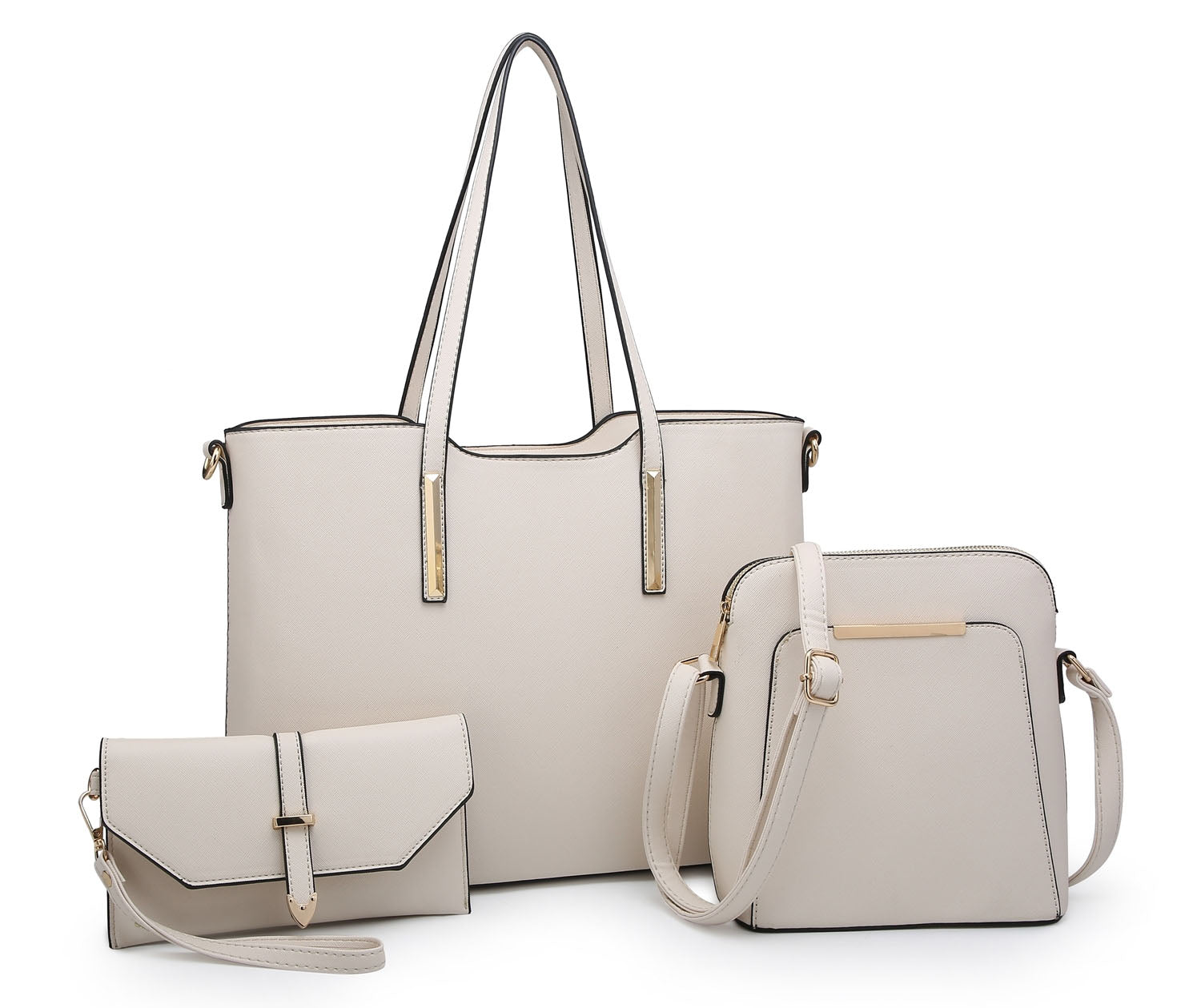 LARGE BEIGE TOTE HANDBAG SET WITH PURSE AND CROSSBODY BAG