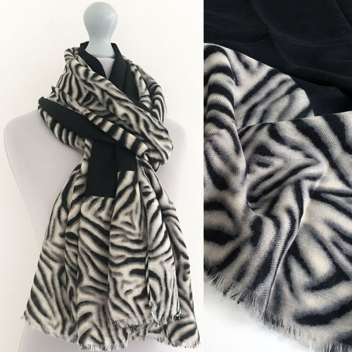 A-SHU LARGE BLACK BORDER ZEBRA PRINT SHAWL SCARF - A-SHU.CO.UK