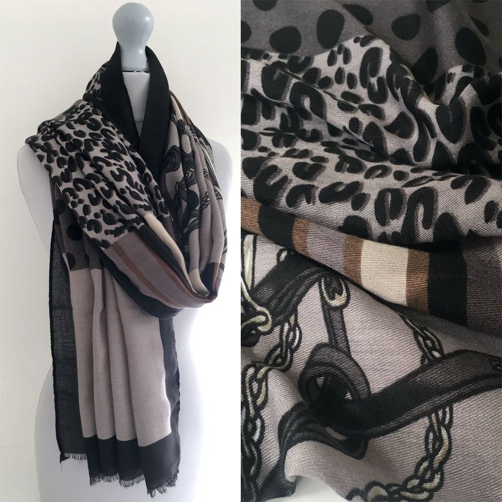 A-SHU LARGE BLACK CHAIN AND DOTS LEOPARD PRINT SHAWL SCARF - A-SHU.CO.UK