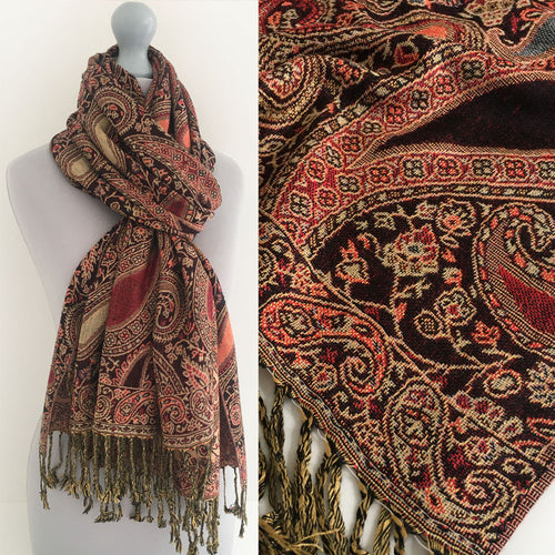 A-SHU LARGE BLACK MULTI COLOUR PAISLEY PRINT PASHMINA SHAWL SCARF - A-SHU.CO.UK