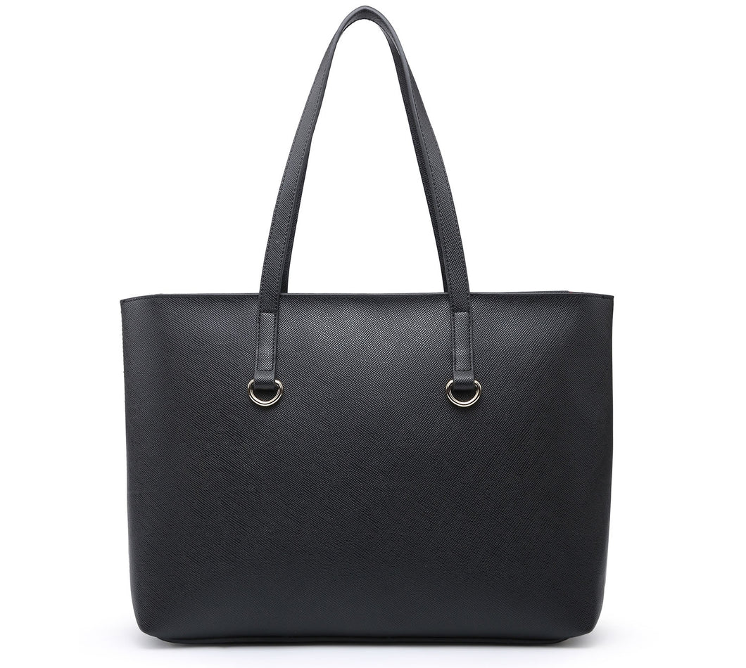LARGE BLACK PLAIN TOTE HANDBAG