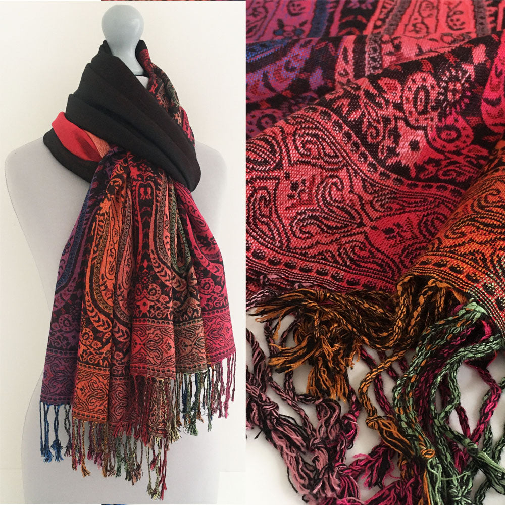 A-SHU LARGE BLACK RAINBOW MULTI COLOUR PAISLEY PRINT PASHMINA SHAWL SCARF - A-SHU.CO.UK